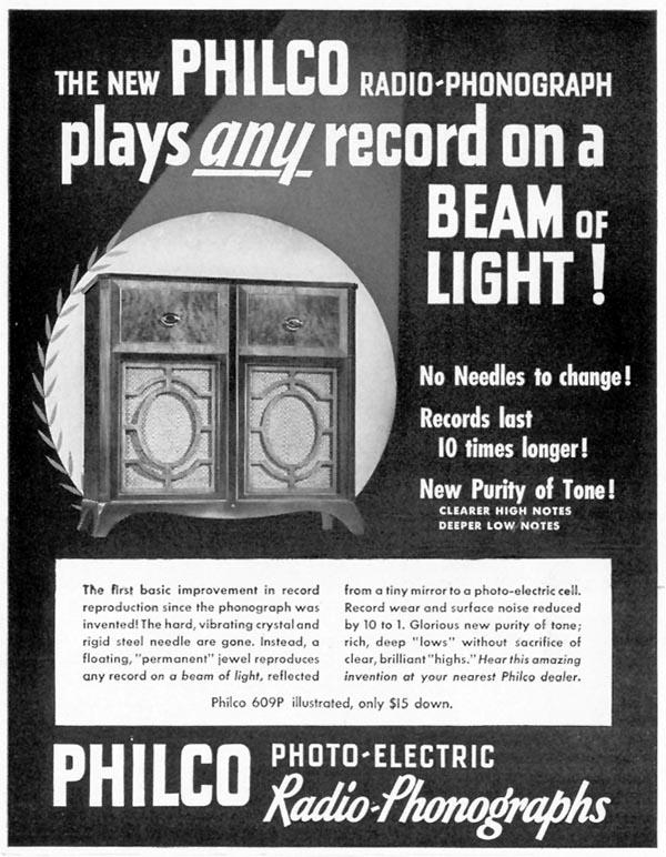 PHILCO PHOTO-ELECTRIC RADIO-PHONOGRAPHS LIFE 09/16/1940 p. 80