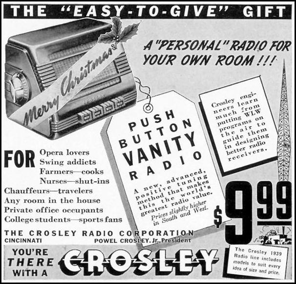 CROSLEY PUSH BUTTON VANITY RADIO LIFE 12/12/1938 p. 80