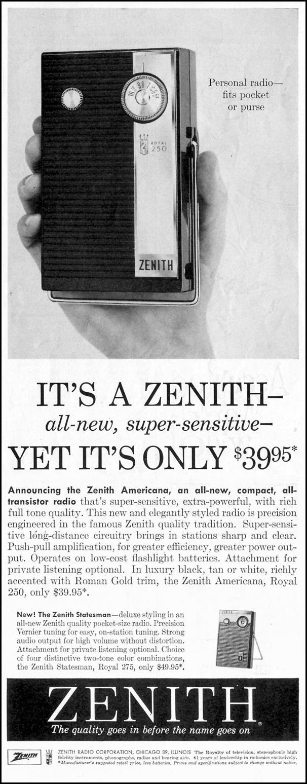 ZENITH AMERICANA ALL-TRANSISTOR PORTABLE RADIO SATURDAY EVENING POST 08/15/1959 p. 57