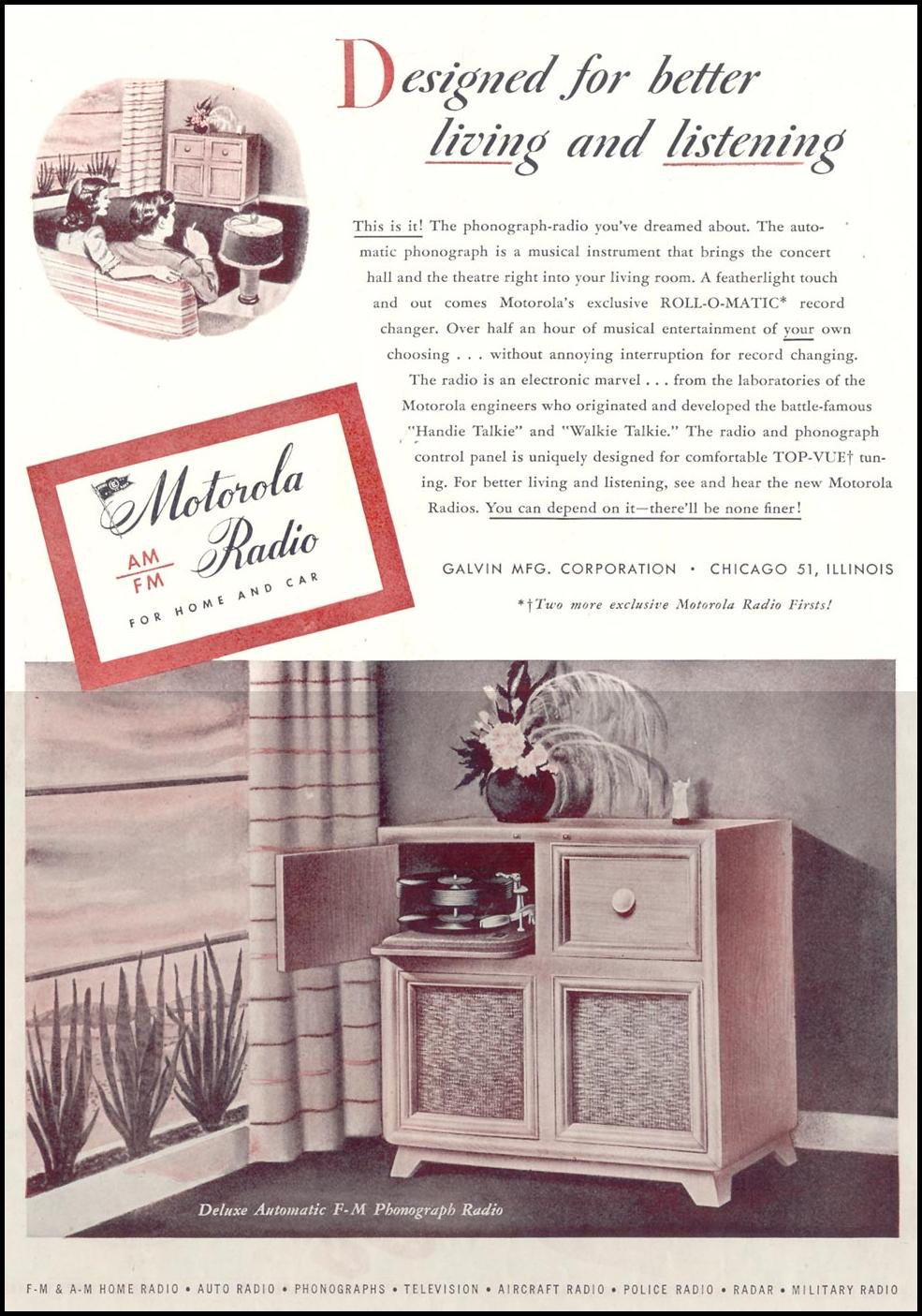 MOTOROLA RADIO SATURDAY EVENING POST 10/06/1945