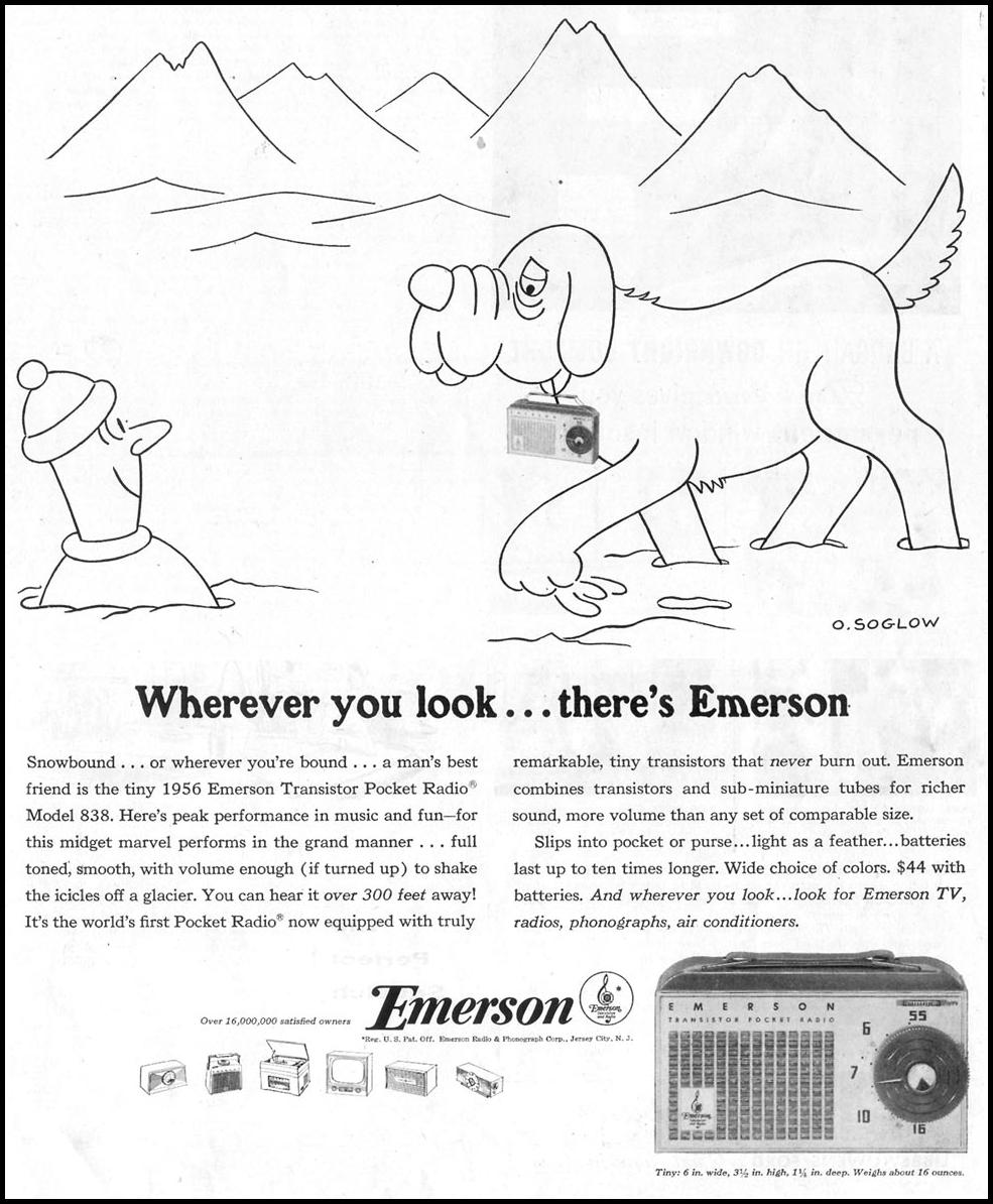 EMERSON TRANSISTOR RADIOS SATURDAY EVENING POST 10/29/1955 p. 75