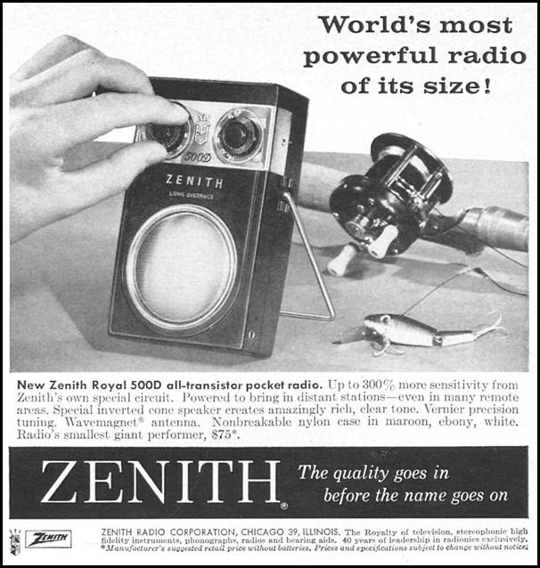 ZENITH ROYAL 500D ALL-TRANSISTOR POCKET RADIO SPORTS ILLUSTRATED 04/27/1959 p. 71