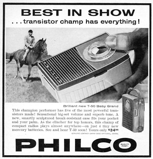 PHILCO T-50 BABY GRAND PORTABLE RADIO SPORTS ILLUSTRATED 05/25/1959 p. 4