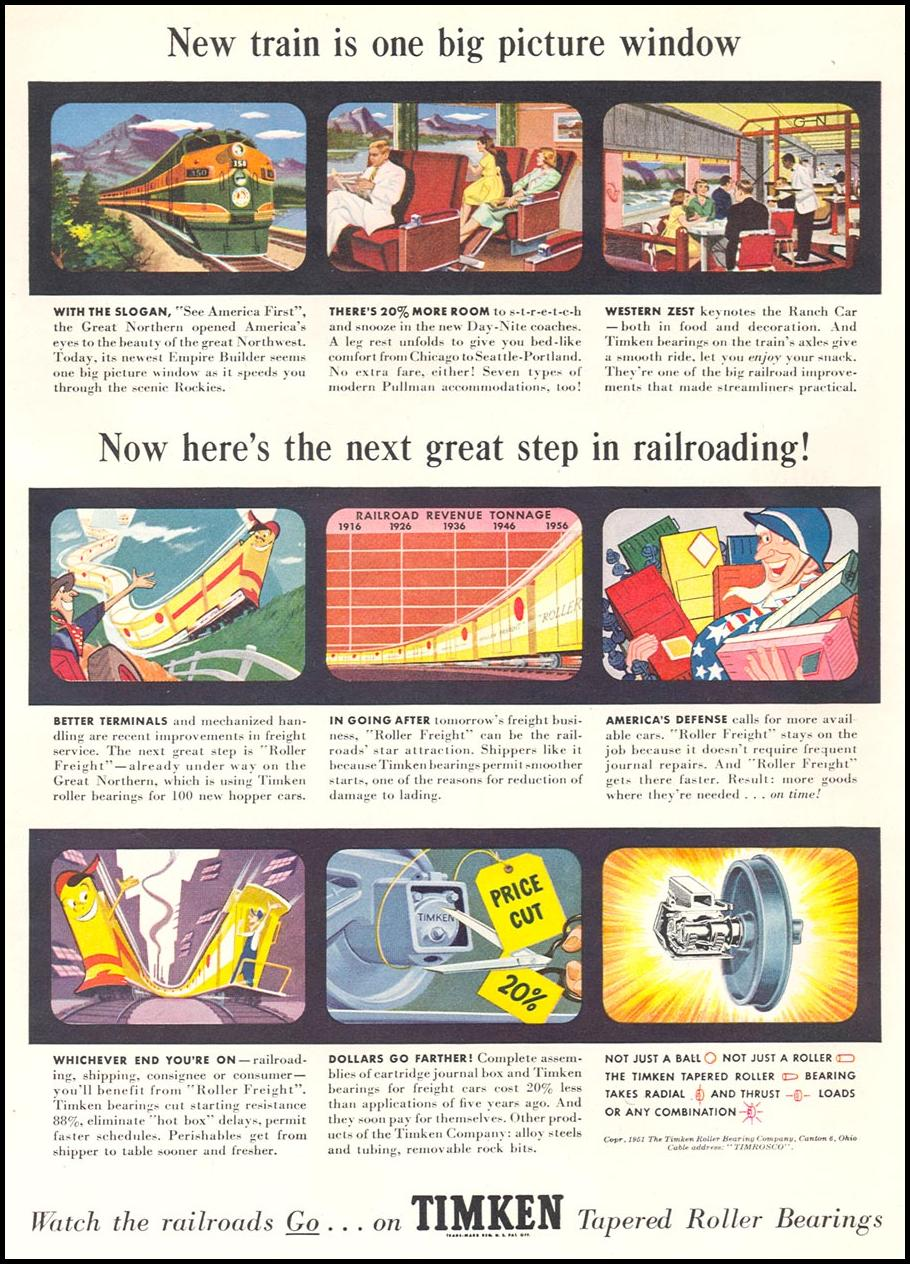 TIMKEN TAPERED ROLLER BEARINGS NEWSWEEK 08/20/1951 p. 39