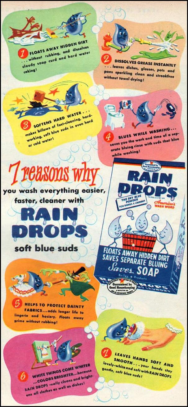 RAIN DROPS LAUNDRY SOAP WOMAN'S DAY 01/01/1947 p. 19
