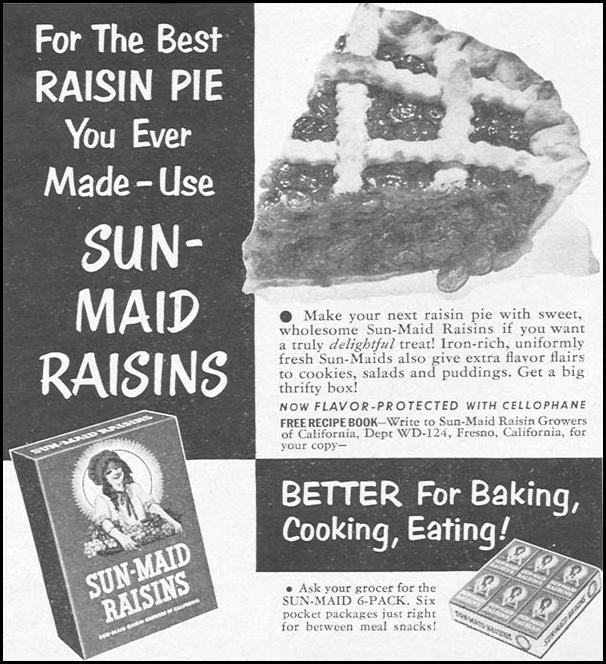 SUN-MAID RAISINS WOMAN'S DAY 12/01/1954 p. 121