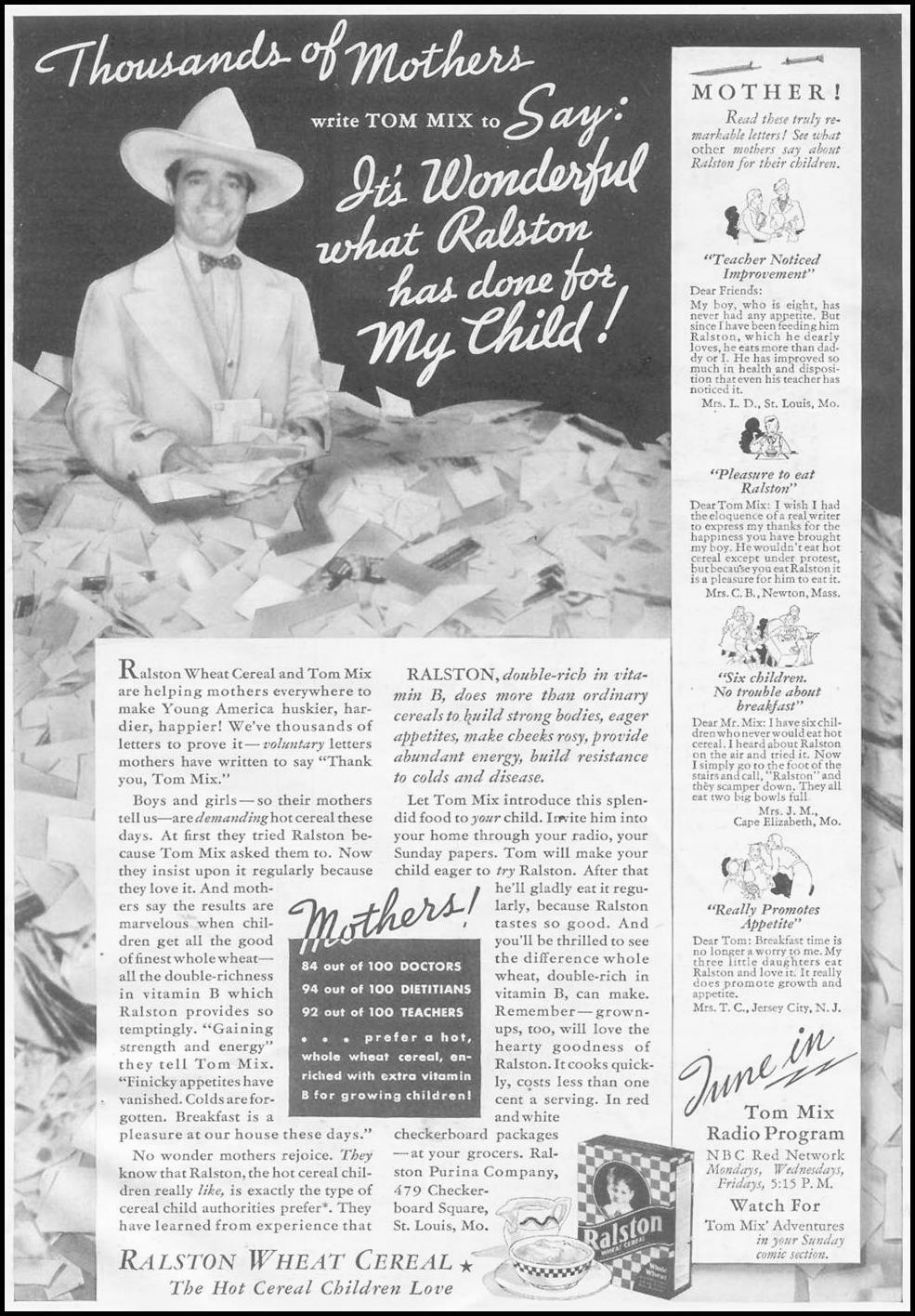 RALSTON WHEAT CEREAL GOOD HOUSEKEEPING 03/01/1935 p. 243