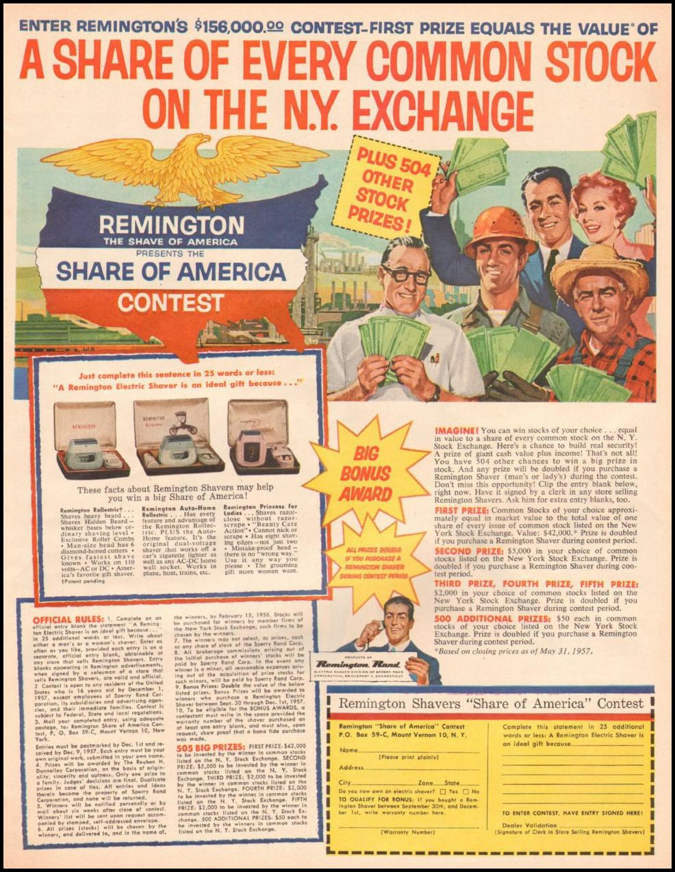 REMINGTON ELECTRIC SHAVERS LOOK 10/29/1957 p. 49