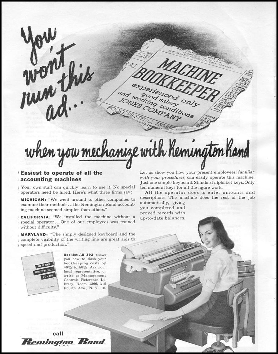 MECHANIZED ACCOUNTING MACHINES NEWSWEEK 08/20/1951 p. 62