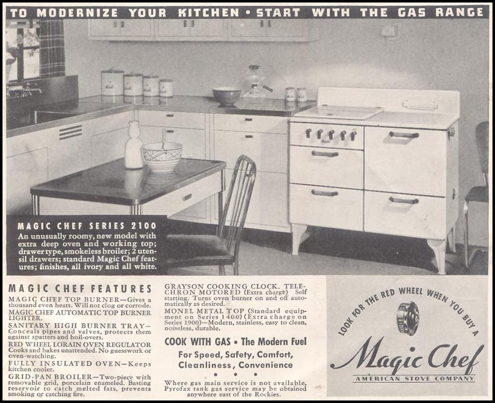 MAGIC CHEF GAS RANGES GOOD HOUSEKEEPING 03/01/1935 p. 245