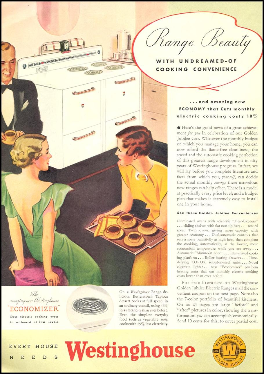 WESTINGHOUSE GOLDEN JUBILEE ELECTRIC RANGES GOOD HOUSEKEEPING 04/01/1936 p. 118