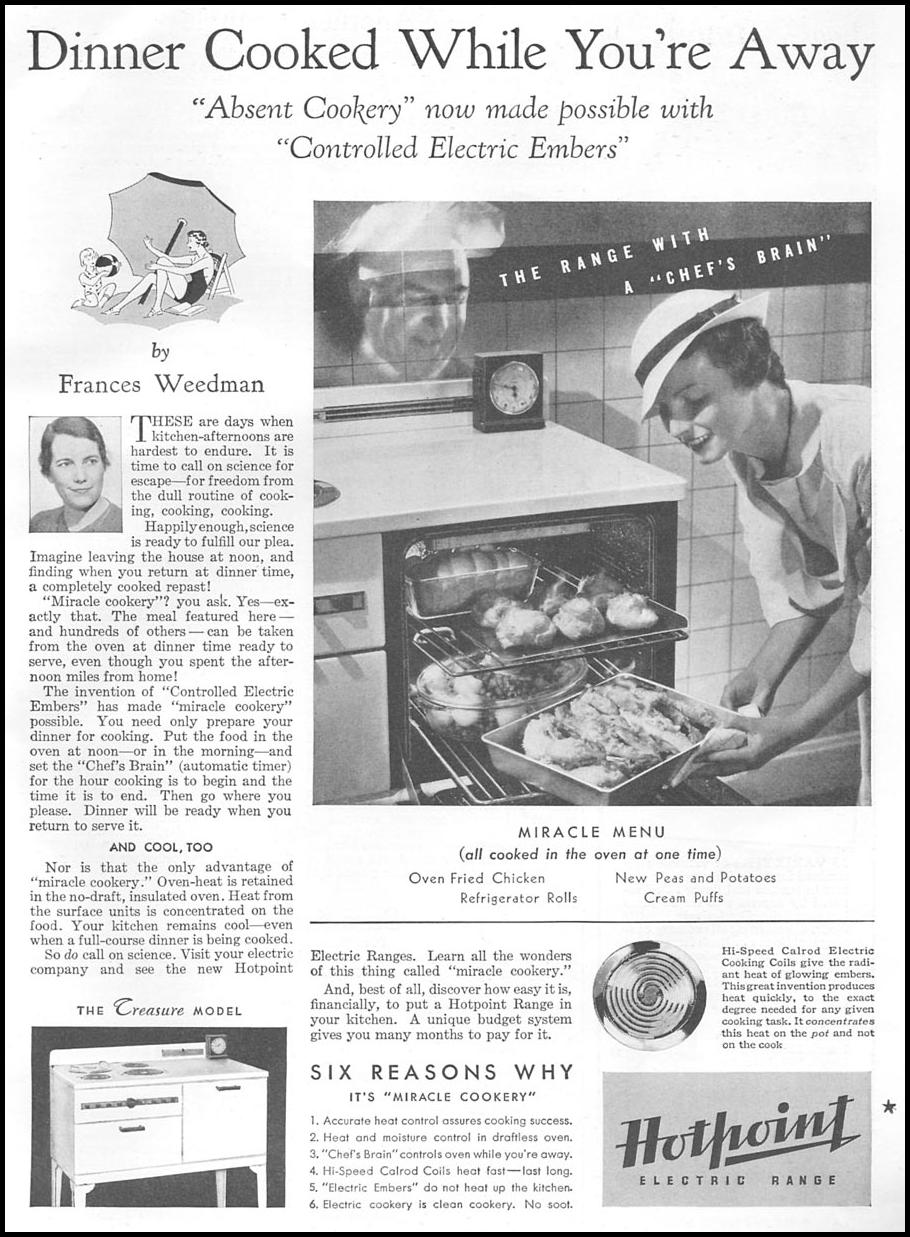 HOTPOINT ELECTRIC RANGES GOOD HOUSEKEEPING 06/01/1935 p. 109