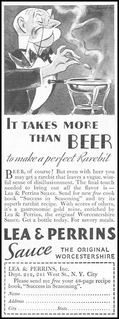 LEA & PERRINS SAUCE GOOD HOUSEKEEPING 12/01/1934 p. 202