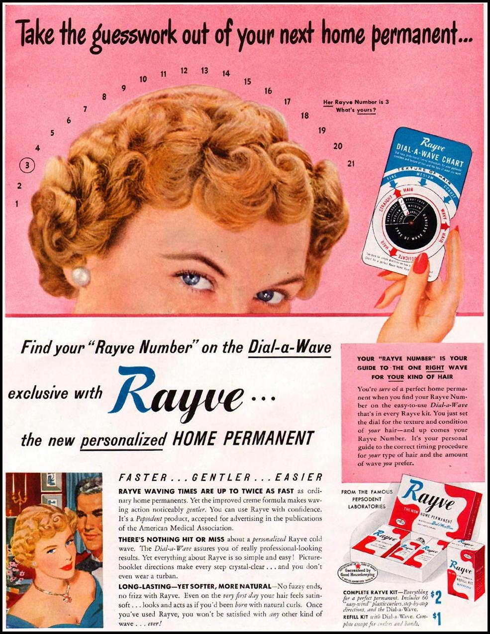 RAYVE HOME PERMANENT LADIES' HOME JOURNAL 07/01/1949 p. 27