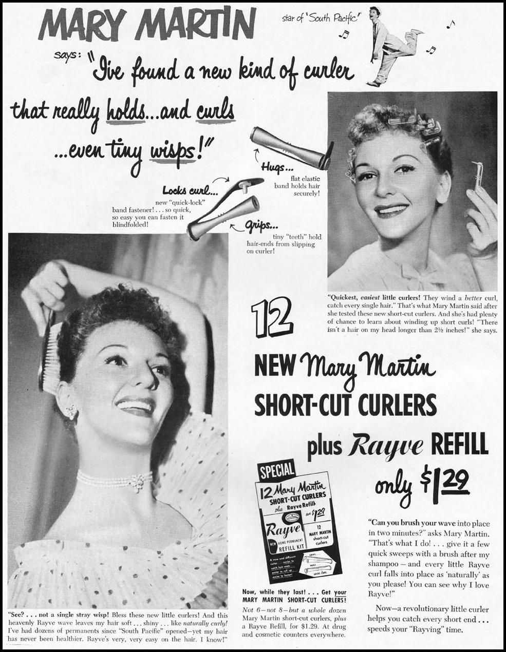 RAYVE HAIR CURLERS LADIES' HOME JOURNAL 11/01/1950 p. 176