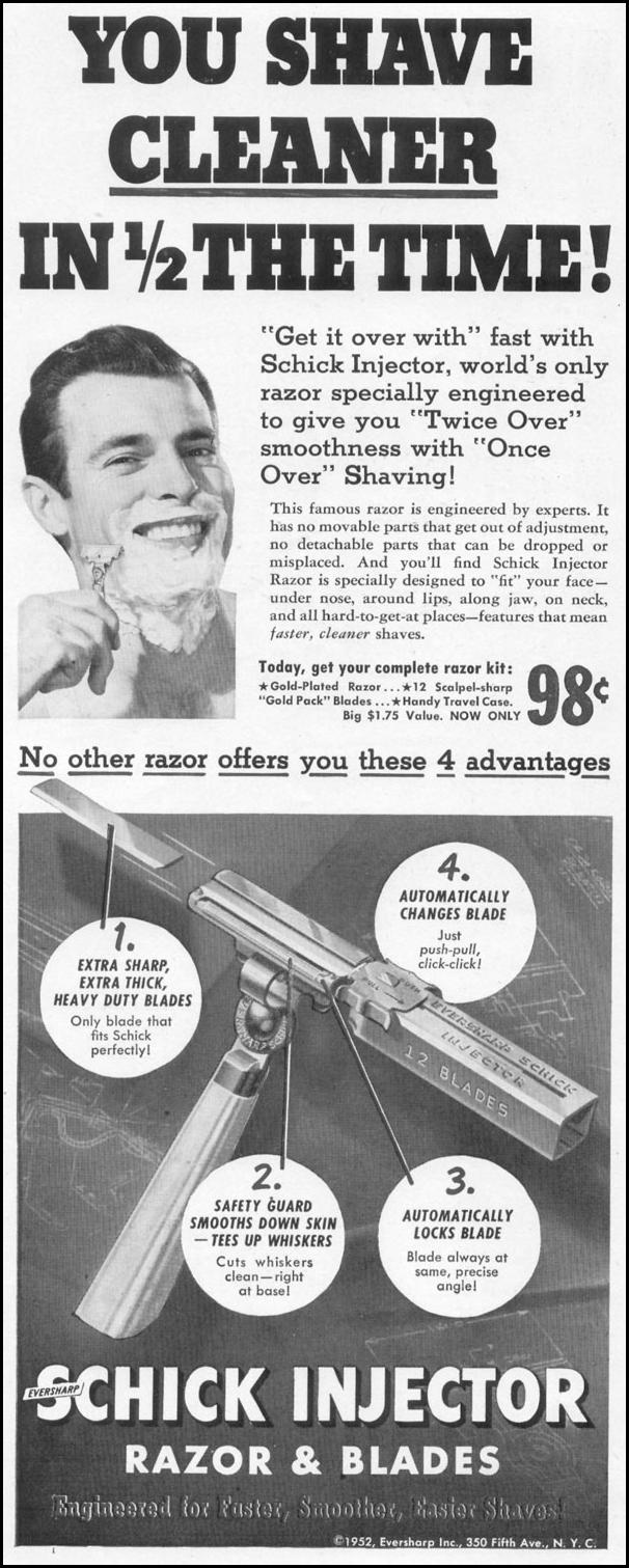 SCHICK INJECTOR RAZOR AND BLADES LIFE 10/13/1952 p. 174