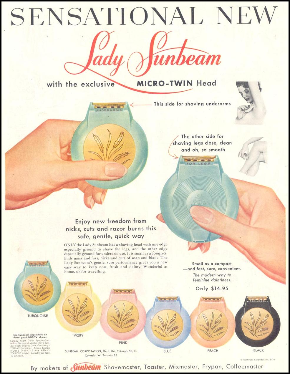 LADY SUNBEAM LADIES' SHAVER LIFE 10/29/1955 p. 72