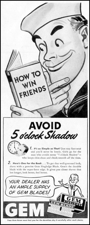 GEM SINGLEDGE RAZOR BLADES LIFE 11/08/1943 p. 44