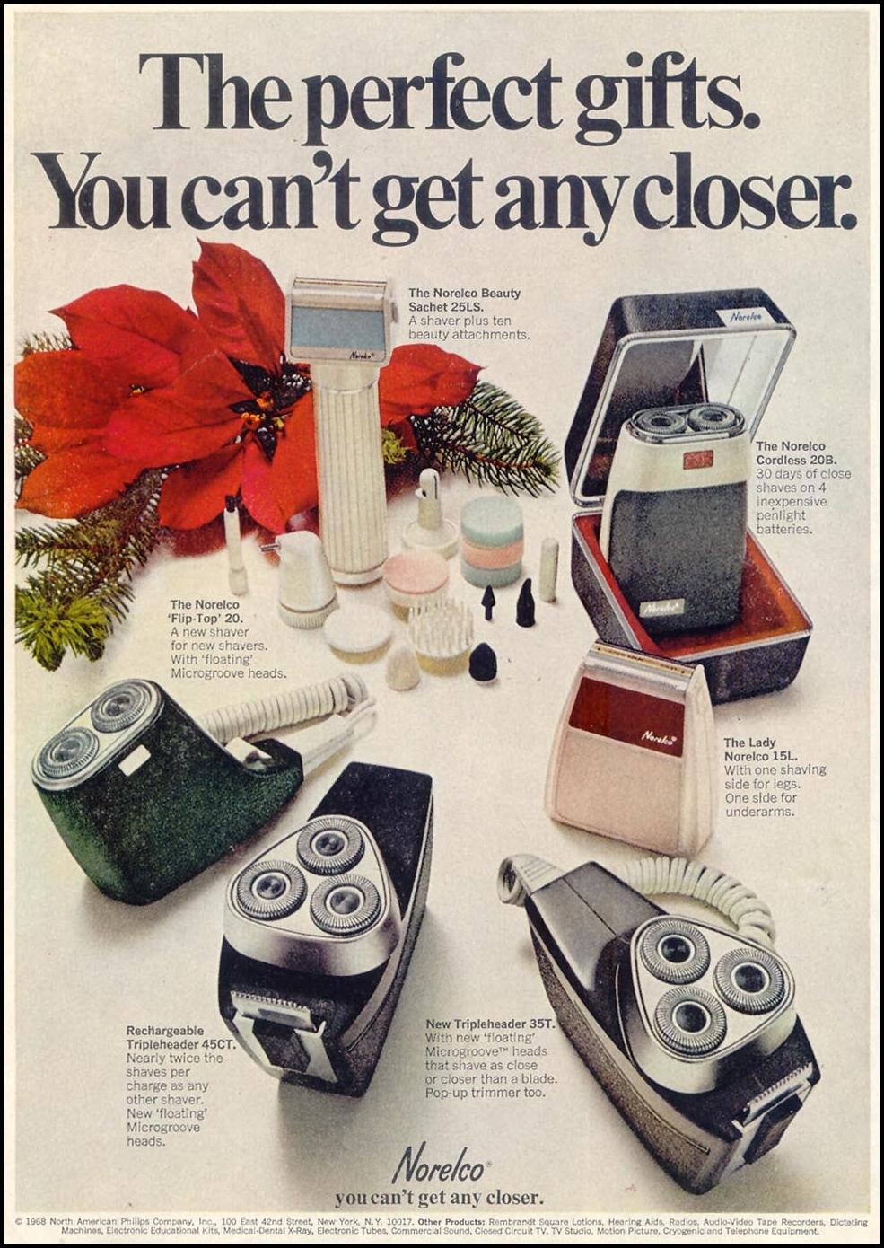 NORELCO ELECTRIC RAZORS SATURDAY EVENING POST 12/28/1968 p. 12