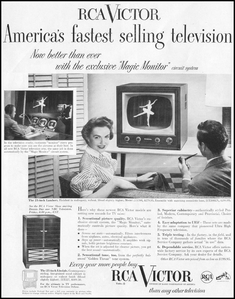 RCA VICTOR TELEVISION DELUXE LIFE 10/13/1952 p. 116