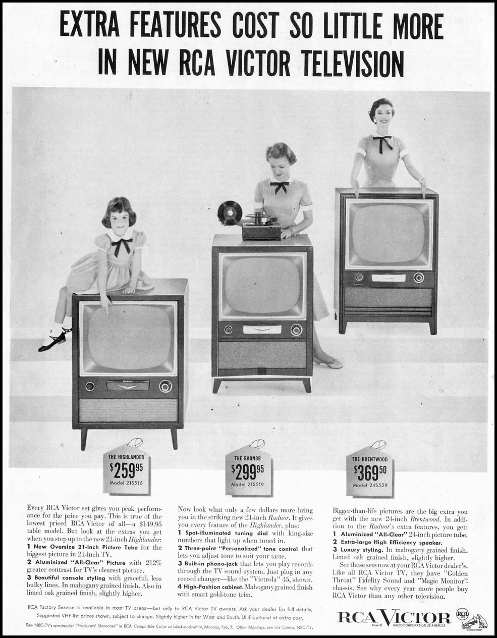 RCA VICTOR TELEVISIONS SATURDAY EVENING POST 02/05/1955 p. 68