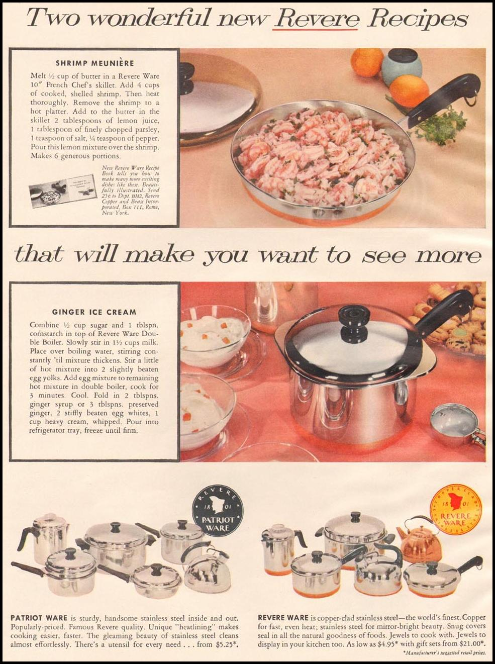 REVERE WARE COOKWARE BETTER HOMES AND GARDENS 03/01/1960 p. 132