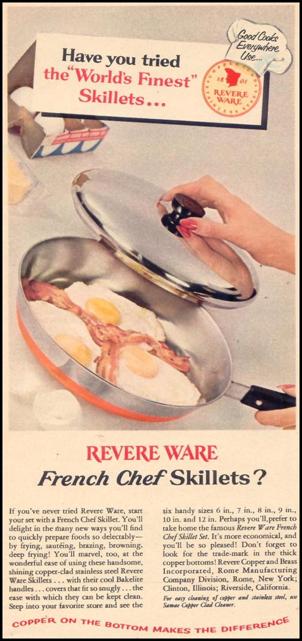 REVERE WARE SKILLETS WOMAN'S DAY 11/01/1955 p. 22