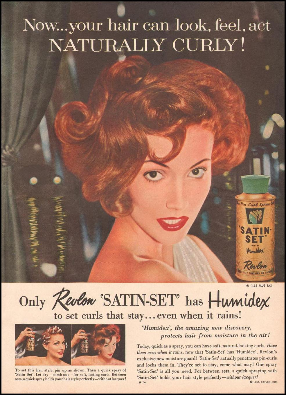 REVLON SATIN-SET HAIR SPRAY WITH HUMIDEX GOOD HOUSEKEEPING 05/01/1957