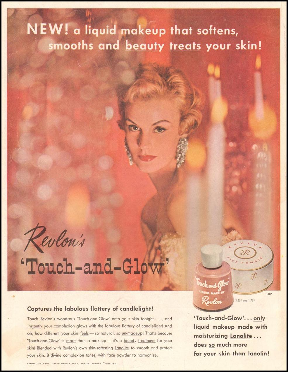 REVLON'S TOUCH-AND-GLOW LADIES' HOME JOURNAL 03/01/1954 BACK COVER