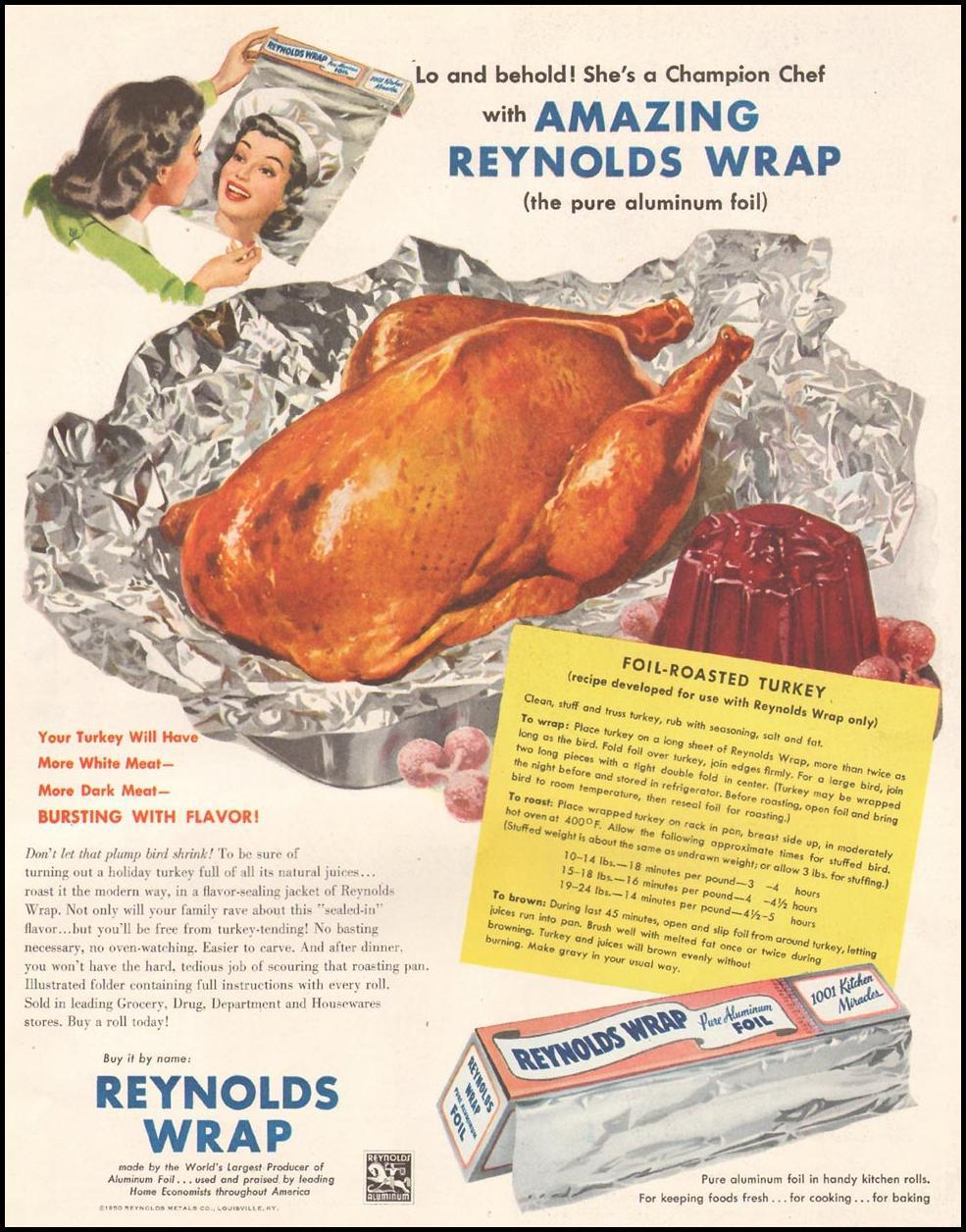 REYNOLDS WRAP ALUMINUM FOIL LADIES' HOME JOURNAL 11/01/1950