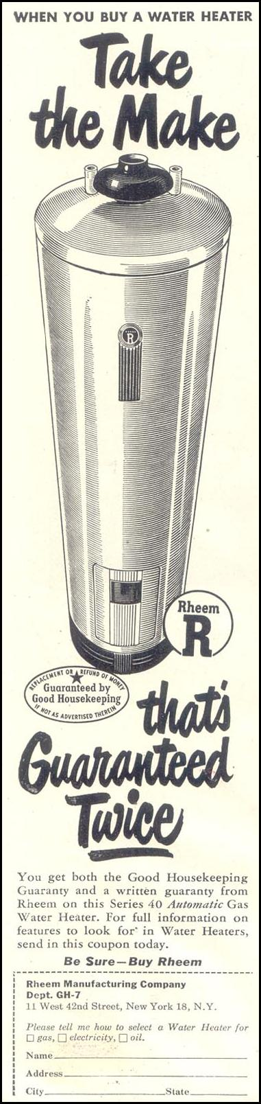 RHEEM WATER HEATERS GOOD HOUSEKEEPING 07/01/1948 p. 26