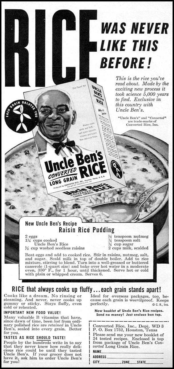 UNCLE BEN'S CONVERTED RICE WOMAN'S DAY 04/01/1949 p. 89