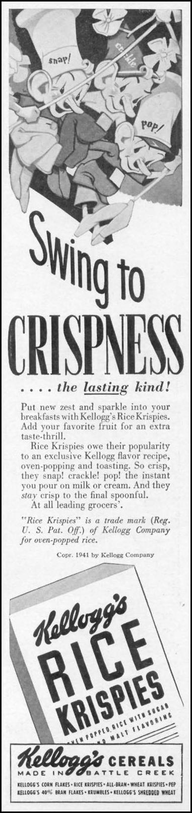 KELLOGG'S RICE KRISPIES WOMAN'S DAY 05/01/1941 p. 55