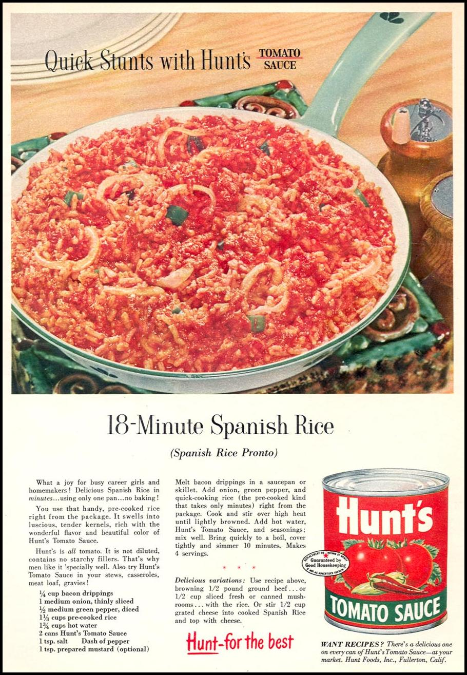 HUNT'S TOMATO SAUCE WOMAN'S DAY 09/01/1955 p. 89