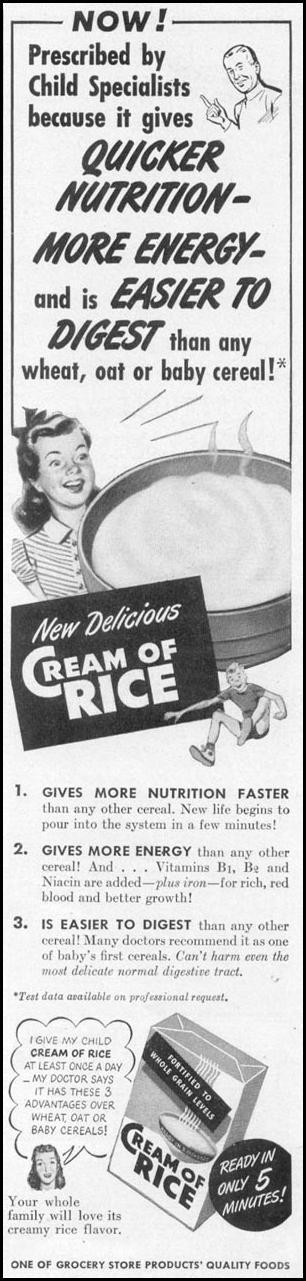 CREAM OF RICE WOMAN'S DAY 10/01/1949 p. 141