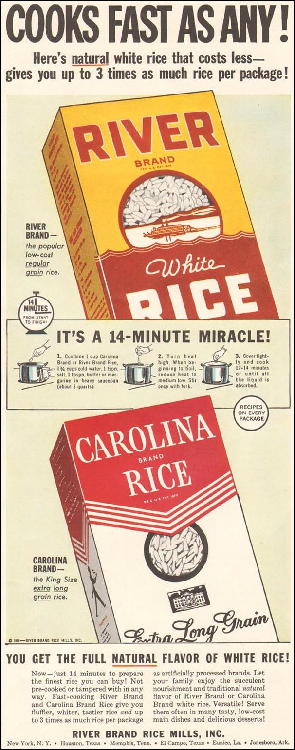 RIVER BRAND WHITE RICE LADIES' HOME JOURNAL 03/01/1954 p. 135