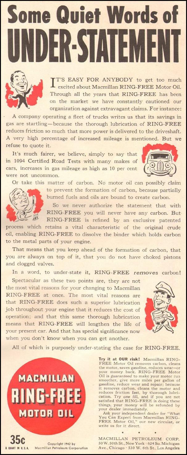 MACMILLAN RING-FREE MOTOR OIL LIFE 06/22/1942 p. 89