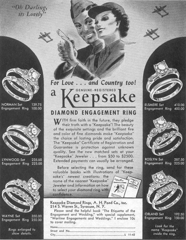 KEEPSAKE DIAMOND RINGS LIFE 11/02/1942 p. 82