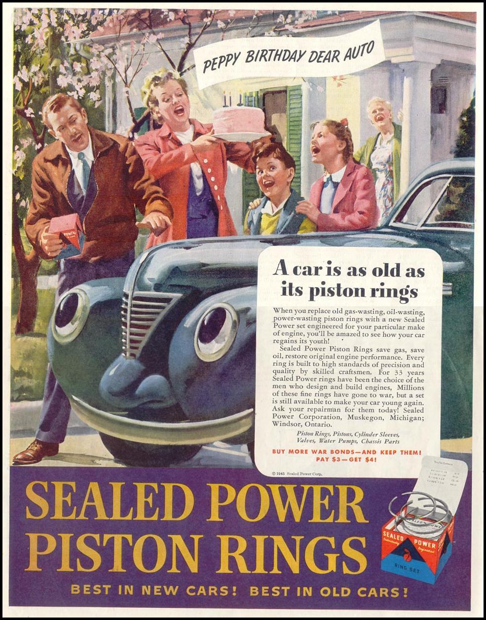 SEALED POWER PISTON RINGS SATURDAY EVENING POST 05/19/1945 p. 78
