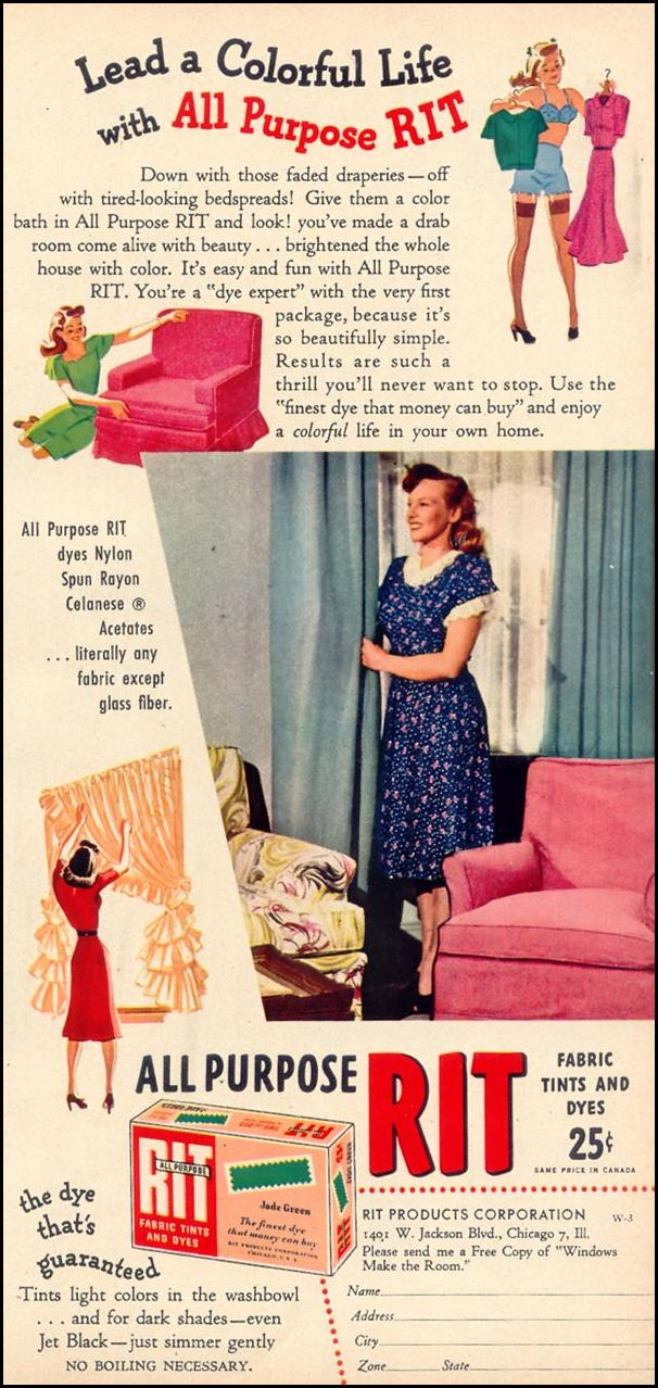 RIT ALL PURPOSE FABRIC TINTS AND DYES WOMAN'S DAY 03/01/1948 p. 59