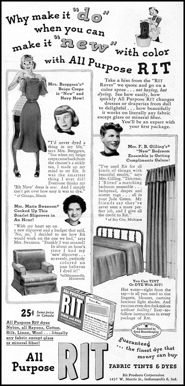 RIT ALL PURPOSE FABRIC DYE WOMAN'S DAY 04/01/1949 p. 89