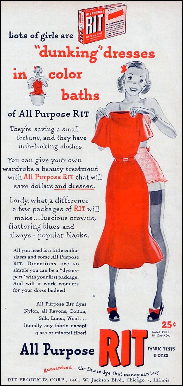 RIT ALL PURPOSE FABRIC TINTS AND DYES WOMAN'S DAY 09/01/1948 p. 73