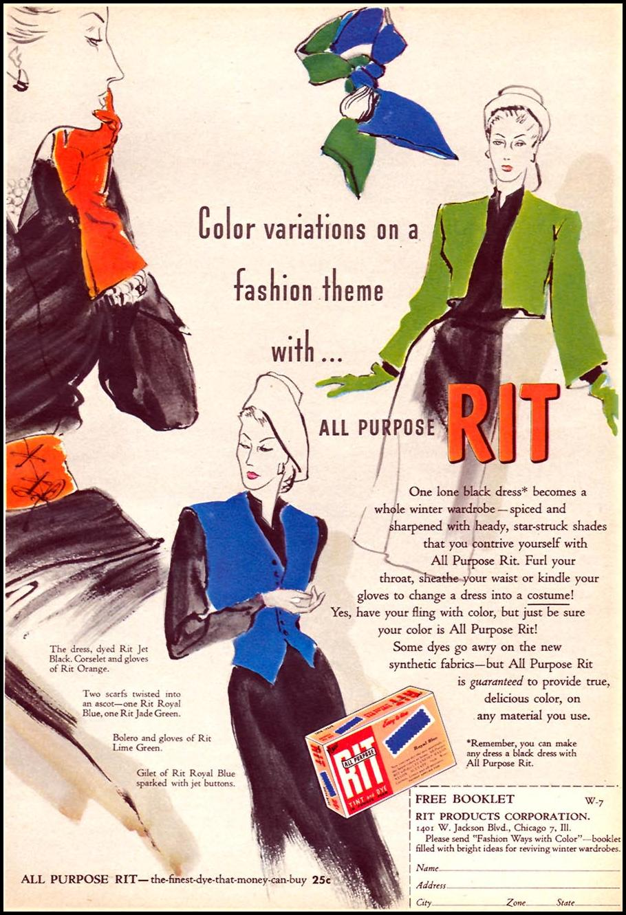 RIT FABRIC DYES WOMAN'S DAY 11/01/1946 p. 21