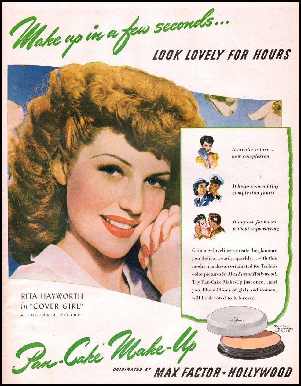 MAX FACTOR PAN-CAKE MAKE-UP LIFE 10/11/1943 p. 109