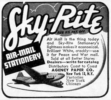 SKY-RITE AIR-MAIL STATIONERY LIFE 02/21/1944 p. 112