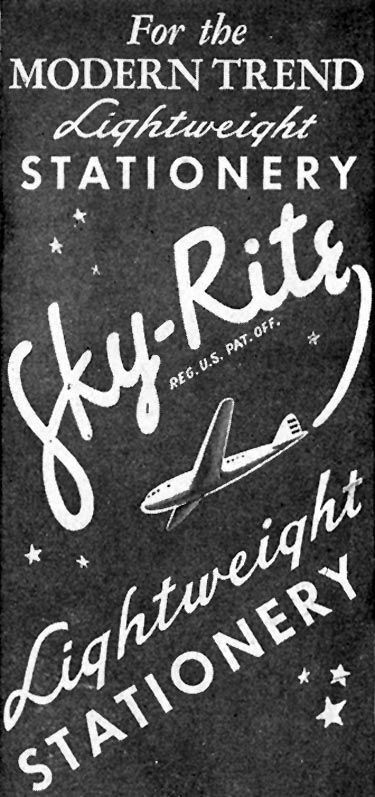 SKY-RITE LIGHTWEIGHT STATIONERY SATURDAY EVENING POST 10/06/1945 p. 102