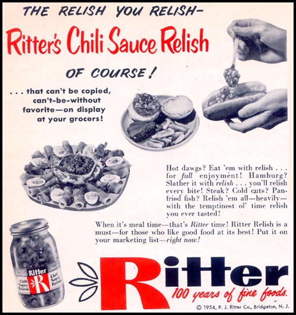 RITTER'S CHILI SAUCE RELISH WOMAN'S DAY 10/01/1954 p. 182