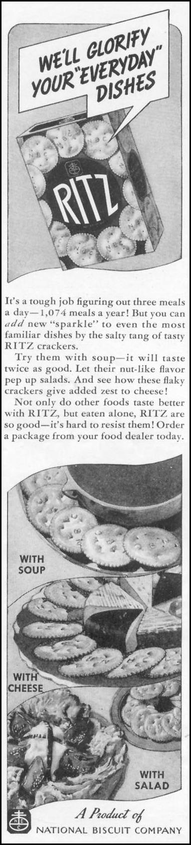 RITZ CRACKERS WOMAN'S DAY 03/01/1939 p. 38