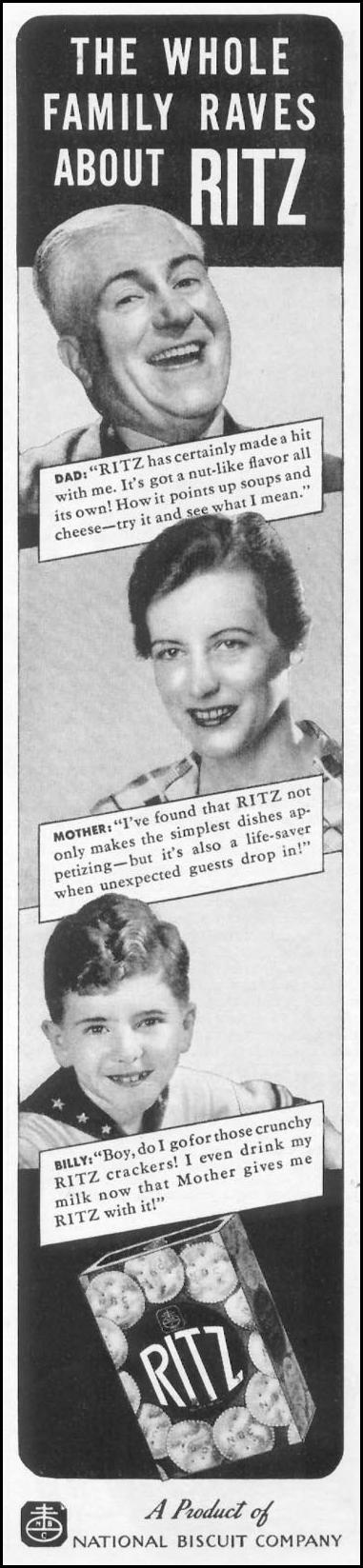 RITZ CRACKERS WOMAN'S DAY 03/01/1939 p. 39