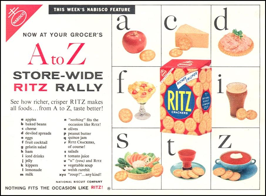 RITZ CRACKERS WOMAN'S DAY 04/01/1956 p. 44
